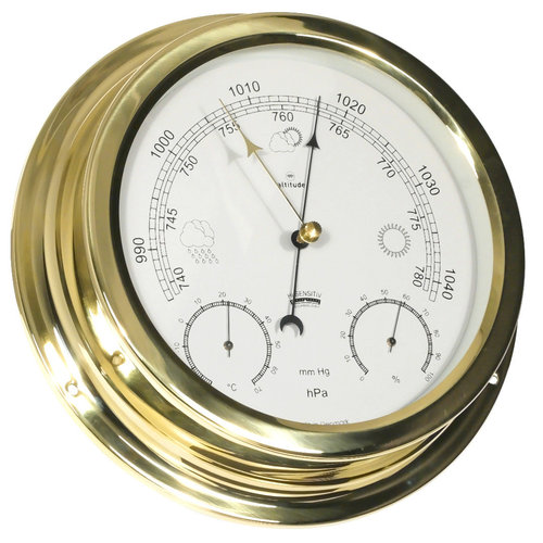 Barometer-Thermometer-Hygrometer altitude, Messing, D 224 mm